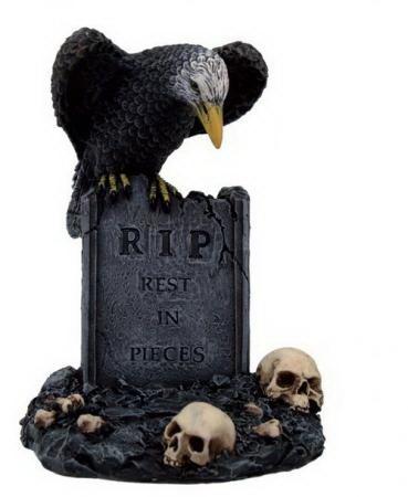Petite pierre tombale avec corbeau, RIP